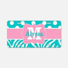 Teal Pink Dots Zebra Personalized Aluminum License
