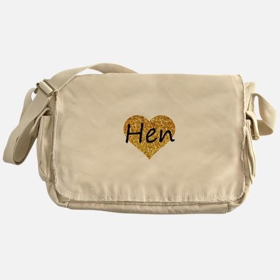 hen gold glitter heart Messenger Bag