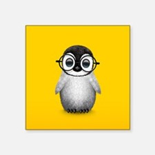 Cute Baby Penguin Wearing Glasses Yellow Sticker