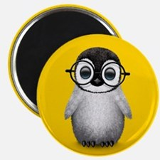 Cute Baby Penguin Wearing Glasses Yellow Magnets
