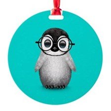 Cute Baby Penguin Wearing Glasses Blue Ornament