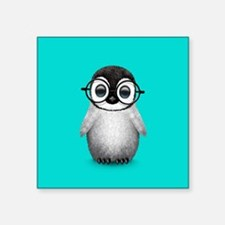 Cute Baby Penguin Wearing Glasses Blue Sticker