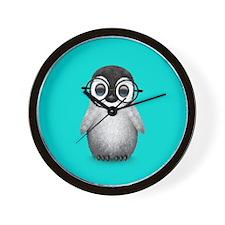 Cute Baby Penguin Wearing Glasses Blue Wall Clock