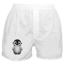 Cute Baby Penguin Wearing Glasses Boxer Shorts