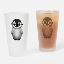 Cute Baby Penguin Wearing Glasses Drinking Glass