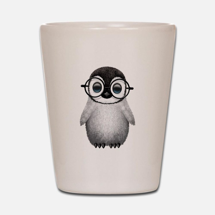 Cute Baby Penguin Wearing Glasses Shot Glass