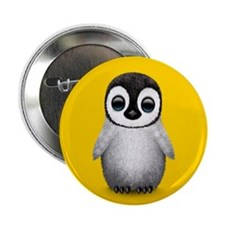 """Cute Baby Penguin on Yellow 2.25"""" Button"""
