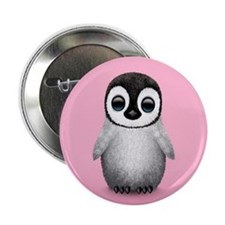 """Cute Baby Penguin on Pink 2.25"""" Button"""