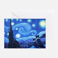 Starry Night Border Collies Greeting Cards