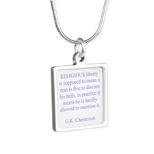 Relgious Liberty Silver Square Necklace