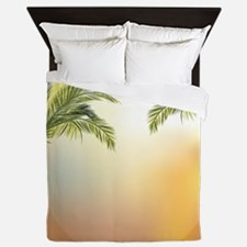Beautiful tropical palm trees Queen Duvet