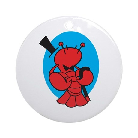 Dancing Lobster in Top Hat Ornament (Round)