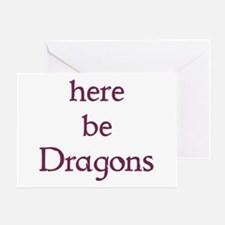 Here Be Dragons 002c Greeting Cards