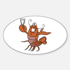Toasting Wine Lobster Oval Decal