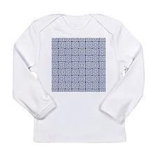 Blue Greek Key Pattern Long Sleeve T-Shirt