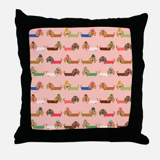 Delightful Dachshunds Throw Pillow