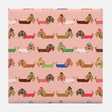 Delightful Dachshunds Tile Coaster