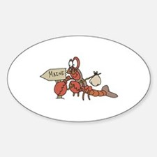 Lobster Moving to Maine Oval Decal