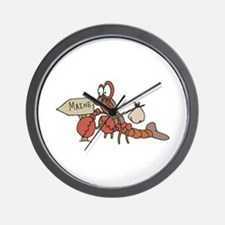 Lobster Moving to Maine Wall Clock