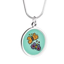 BUTTERFLIES Silver Round Necklace