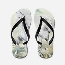 White Horses On The Beach Flip Flops