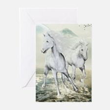 White Horses On The Beach Greeting Cards