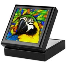 Gold and Blue Macaw Parrot Fantasy Keepsake Box