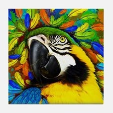 Gold and Blue Macaw Parrot Fantasy Tile Coaster