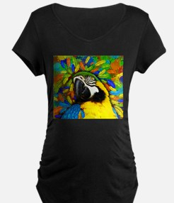 Gold and Blue Macaw Parrot Fantasy Maternity T-Shi
