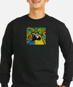 Gold and Blue Macaw Parrot Fantasy Long Sleeve T-S