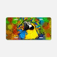 Gold and Blue Macaw Parrot Fantasy Aluminum Licens