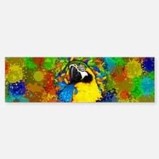 Gold and Blue Macaw Parrot Fantasy Bumper Bumper Bumper Sticker