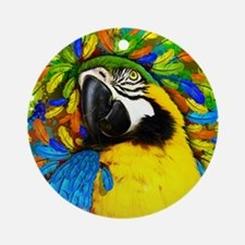 Gold and Blue Macaw Parrot Fantasy Ornament (Round