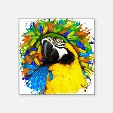 Gold and Blue Macaw Parrot Fantasy Sticker