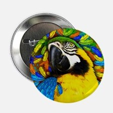 """Gold and Blue Macaw Parrot Fantasy 2.25"""" Button"""