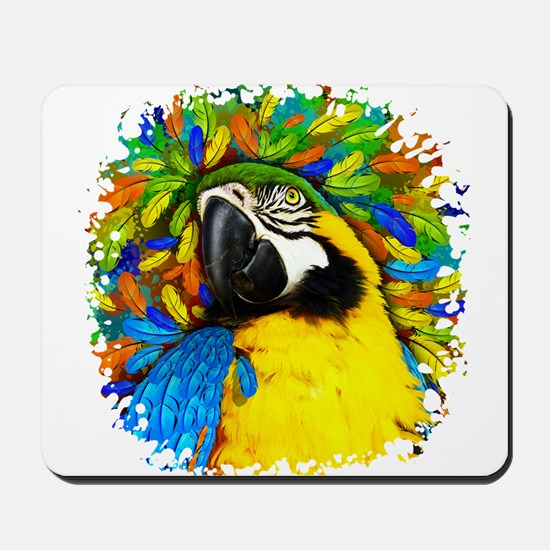 Gold and Blue Macaw Parrot Fantasy Mousepad
