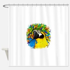Gold and Blue Macaw Parrot Fantasy Shower Curtain