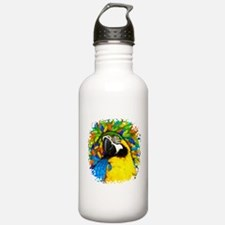Gold and Blue Macaw Parrot Fantasy Water Bottle