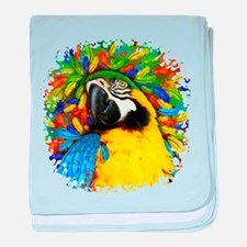 Gold and Blue Macaw Parrot Fantasy baby blanket