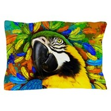 Gold and Blue Macaw Parrot Fantasy Pillow Case