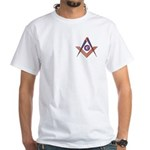 Embedded Masonic Compasses White T-Shirt
