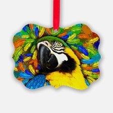 Gold and Blue Macaw Parrot Fantasy Ornament