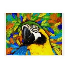 Gold and Blue Macaw Parrot Fantasy 5'x7'Area Rug