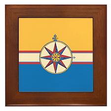 Antique Compass Rose Nautical Design Framed Tile