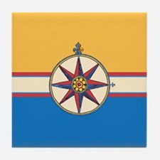 Antique Compass Rose Nautical Design Tile Coaster