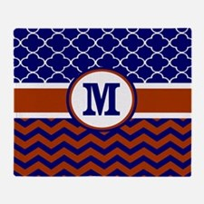 Navy Red Chevron Quatrefoil Monogram Throw Blanket