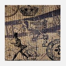 UK vintage bicycle industrial decor Tile Coaster