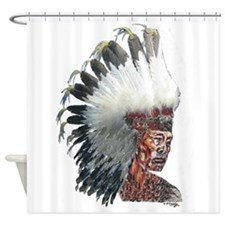 Native American Indian In Headdress Shower Curtain