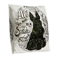 Scottie Basics Burlap Throw Pillow