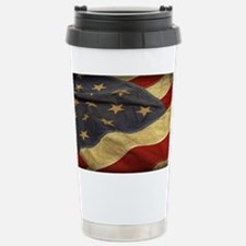 Distressed Vintage American Flag Travel Mug